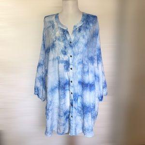 Catherines 4X Blue Tie Dye Pintuck Tunic Top